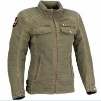 303ec2052fe48 SEGURA - blouson moto textile femme LADY FRIDA vintage toutes saisons kaki  STB789