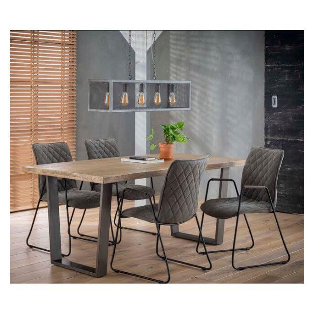 Mathi Design Mango - Table repas bois massif et acier
