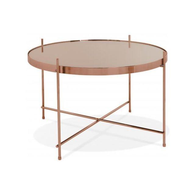 Declikdeco Table Basse Ronde Petite en Verre Cuivre et Piétement en Métal Wally