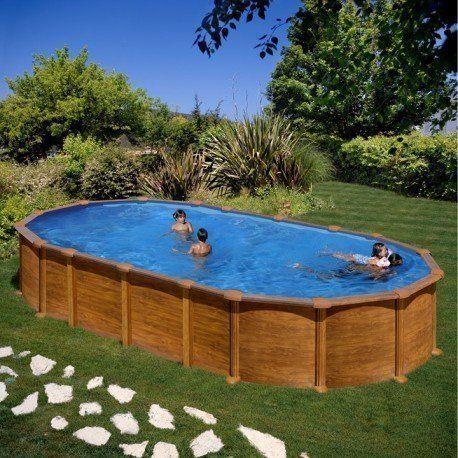 gre pools kit piscine hors sol amazonia ovale en acier aspect bois avec renforts en u 7 30 x. Black Bedroom Furniture Sets. Home Design Ideas