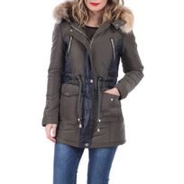 Lamodeuse - Manteau bi-matière à capuche kaki