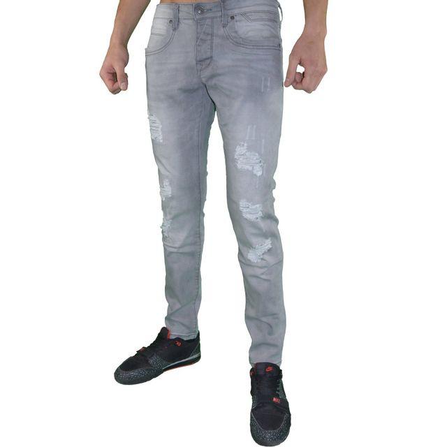 autre en solde original ado jean homme d2066 slim fit gris clair d lav pas cher. Black Bedroom Furniture Sets. Home Design Ideas