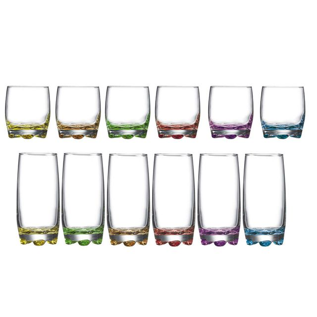 Novastyl Service de gobelets en verre forme haute + basse multicolore - Adora