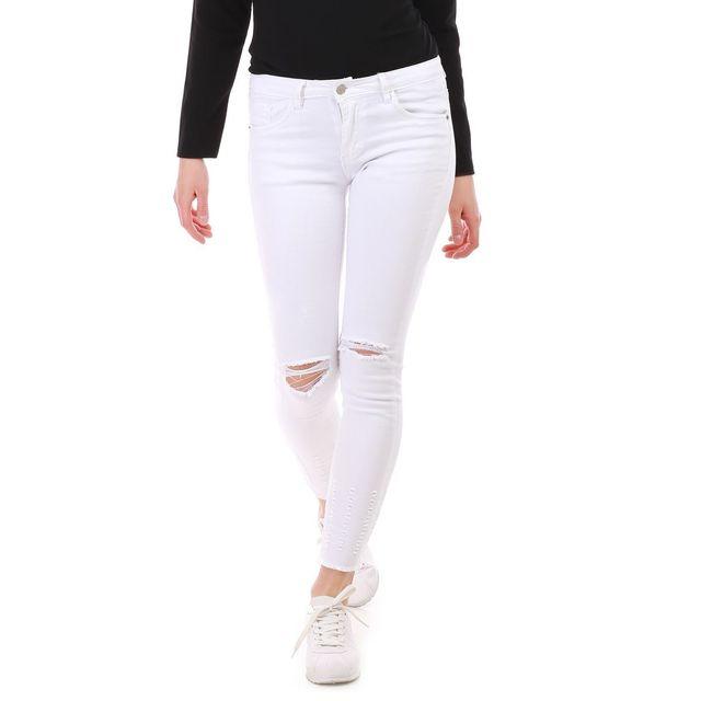 9c428dd16577a Lamodeuse - Jeans blanc déchiré genoux et cheville - pas cher Achat ...