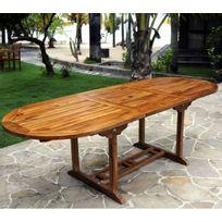 Wood-en-Stock - Table de jardin en teck pour 10 personnes - table ovale