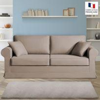 Home Spirit - Canapé 3 places fixes - 100% coton - coloris havane Adele