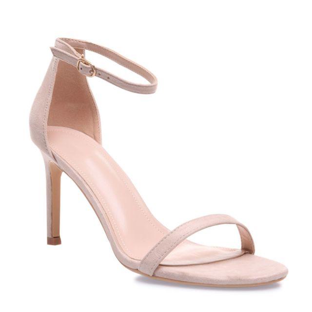 Sandales blanches à brides fines et talon aiguille