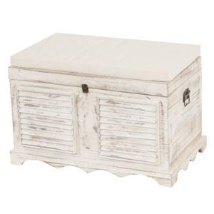 mendler banc banquette coffre de rangement t356 style shabby 50x76x45cm blanc pas cher. Black Bedroom Furniture Sets. Home Design Ideas