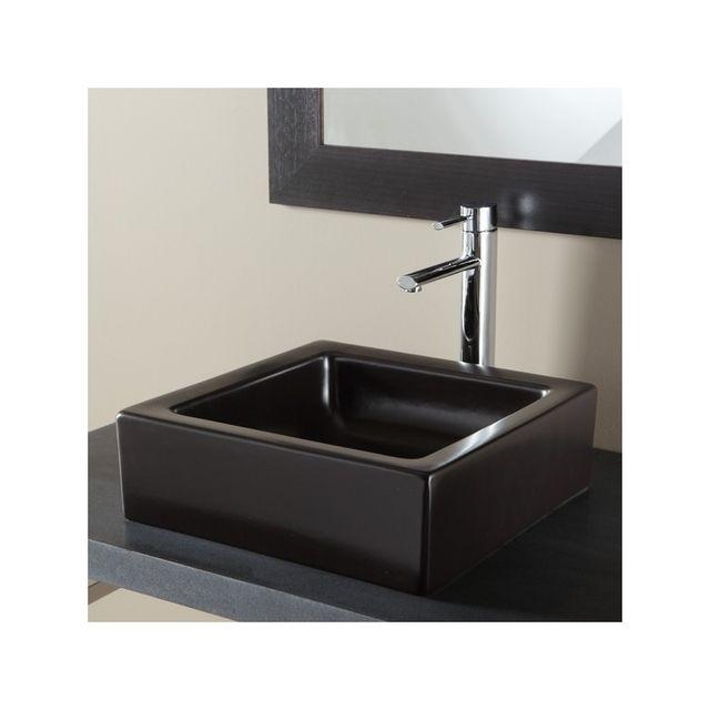 planetebain soldes vasque poser carr e noir tr s. Black Bedroom Furniture Sets. Home Design Ideas