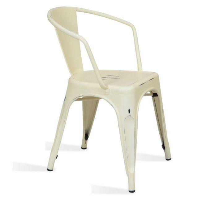 Novara Mobili - Chaise en métal Lix Style Vintage Blanche Winter ...
