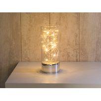 Leblanc Illumination - Lampe à poser cylindre en verre avec guirlande lumineuse hauteur 25cm Vitroled - Transparent