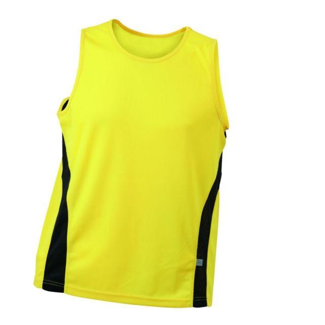 765841f49af2f James   Nicholson - Débardeur running respirant Jn305 - jaune - Homme
