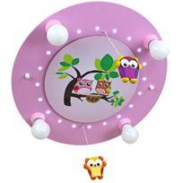 Elobra-Leuchten - Elobra 128220 Lampe Led Pour Enfant Motif Famille De Hiboux Rose
