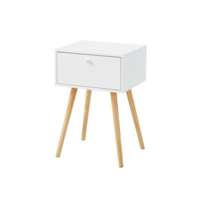 HORTENSE Table de chevet scandinave blanc laqué satiné - L 40 cm