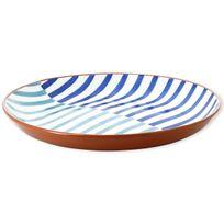 Bruno Evrard - Plat rond plat en céramique motifs rayures 38cm