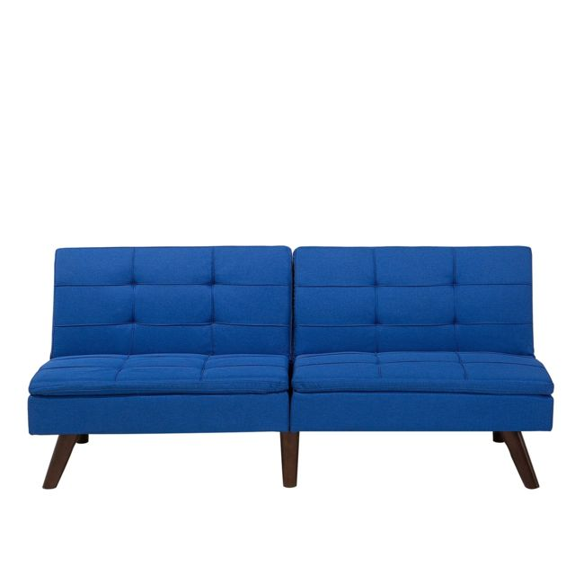 BELIANI Canapé convertible en tissu bleu de cobalt RONNE