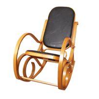 Mendler - Rocking-chair, fauteuil à bascule M41, imitation bois de chêne, assise en cuir Patchwork, noir