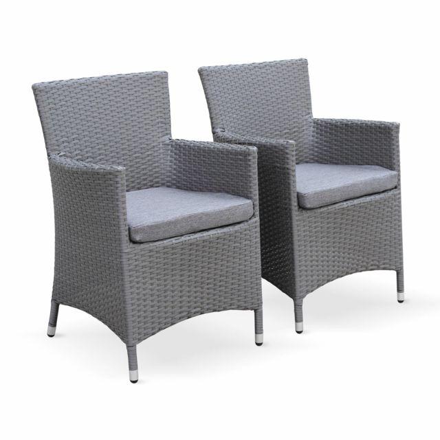 ALICE'S GARDEN Ensemble de 2 fauteuils de jardin Palermo gris en résine tressée, structure aluminium