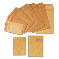 Gpv - Boîte de 250 pochettes kraft brun 1000 raies autocollant 90g - Format 229x324 C4 fenêtre 50x100