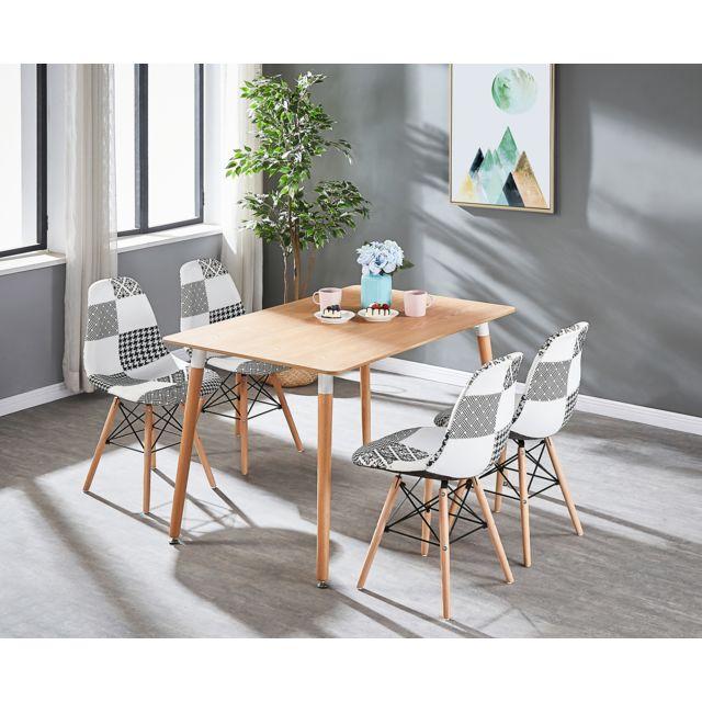 Ensemble Table à Manger Imprimé Chêne + 4 Chaises en Tissu Patchwork - Noir  & Blanc - Style Scandinave