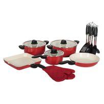 Artmetal - Batterie de cuisine rouge céramique 20pcs + poignées amovibles Artmétal Qualité Pro