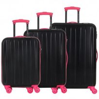 David Jones - Lot de 3 valises bagage rigide - 4 Roues - Fuchsia