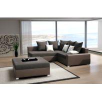 Relax design - Canapé Malcolm vila brun Canapé d'angle + pouf sofa divan