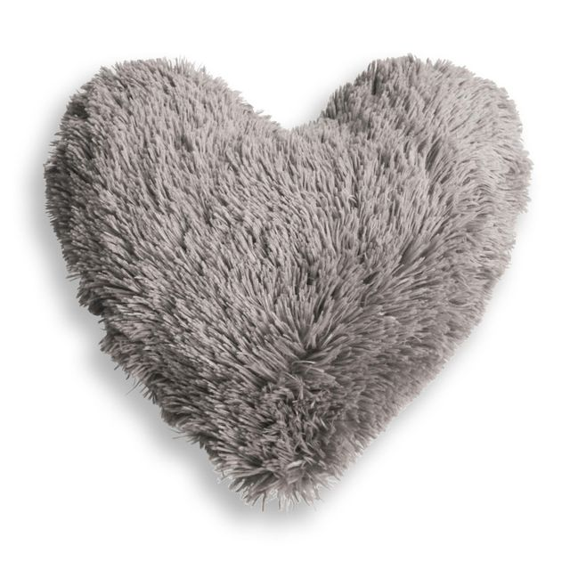 Couleur Montagne Cdaffaires Coussin coeur 40 x 40 cm imitation fourrure marmotte Gris