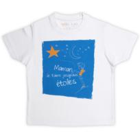 Rigolobo - Tee-Shirt garçon blanc 'Maman, je t'aime jusqu'aux étoiles