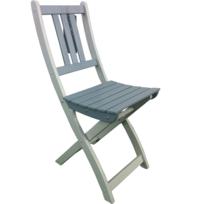 City Green - Chaise de Jardin Pliante en Bois Lot de 2 Grise