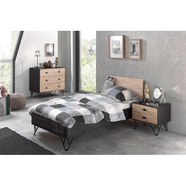 Comforium Ensemble complet 3 pièces pour chambre moderne avec lit 90x200 cm chevet et commode à 3 tiroirs coloris brun et noir