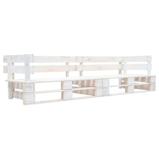 Vidaxl Canapé Palette à 2 places de Jardin Blanc Fsc Sofa Extérieur Salon