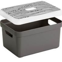 SUNWARE - Boite de rangement avec couvercle motif lignes Sigma Home Box 13 L