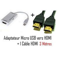 Cabling - Samsung d'origine - Adaptateur micro usb vers hdmi Mhl pour telephone samsung galaxy S4 - Samsung Infuse 4G - galaxy Nexus - Premium qualité - Blanc + cable Hdmi 3 mètres