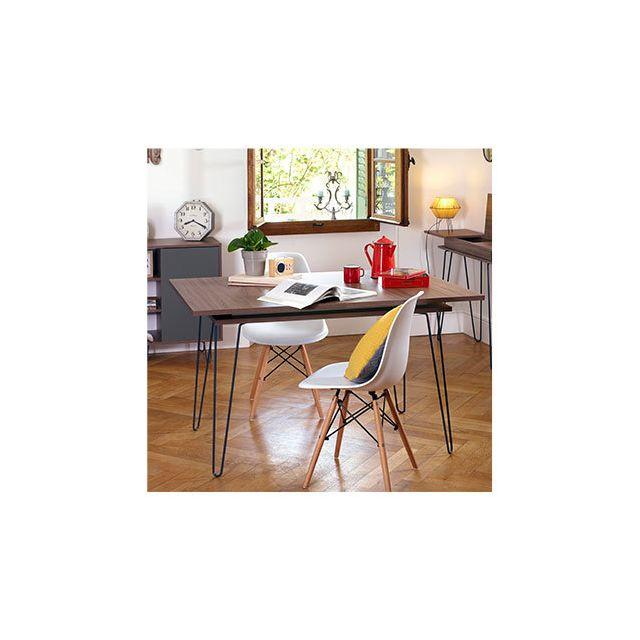 Table de repas avec allonge 134/174x89,5x77 cm noyer - Edison