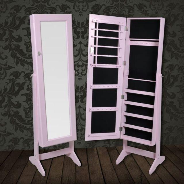 Vidaxl Armoire à Bijoux rangement miroir meuble chambre rose