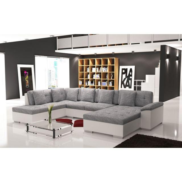 meublesline canap dangle panoramique smile gris et blanc grisblanc 220cm - Canape Angle Blanc Et Gris