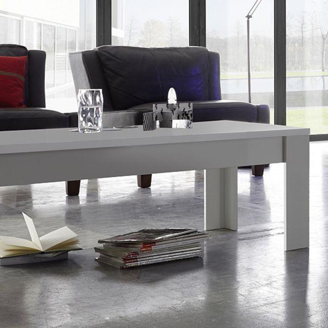 Sofamobili Table basse design blanc laqué mat Nevada