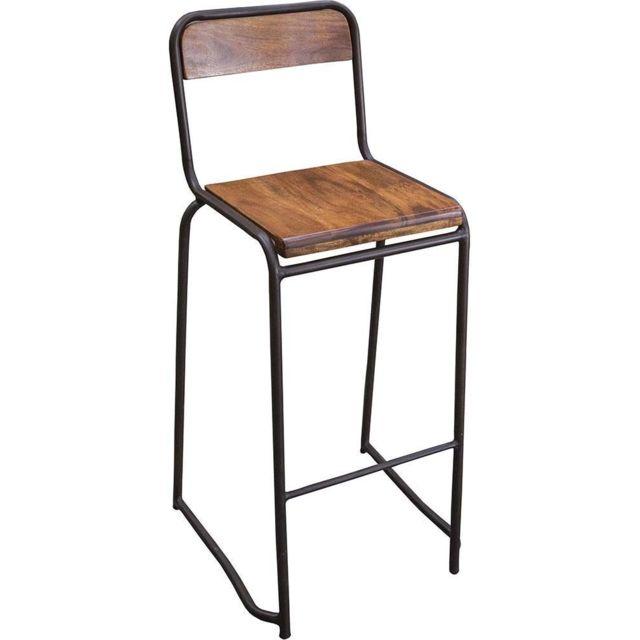 baskets pour pas cher baaed b3205 ANTIC LINE CREATIONS - Chaise de bar style écolier Marron ...