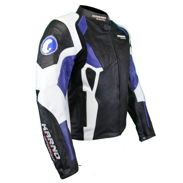 Kc026 Blouson Cuir Moto Motorsport Karno Bleu Veste ZSpwqnvH