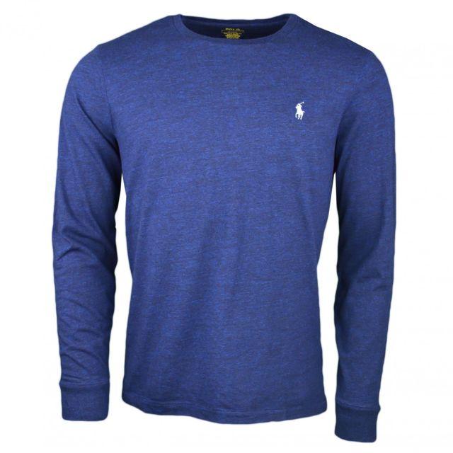 abec56ba2ff Ralph Lauren - T-shirt manches longues Ralph Lauren col rond bleu marine  pour homme