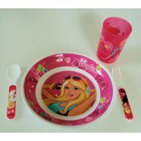 Barbie - Ensemble repas pour enfants - 4 pièces - Couverts, verre et assiette - Collection