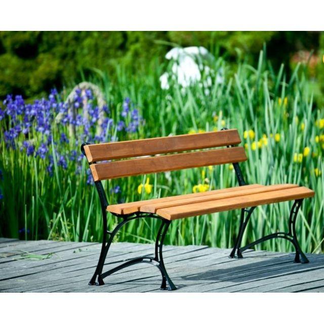 Garden Banc de jardin en bois couleur teck et aluminium 150cm