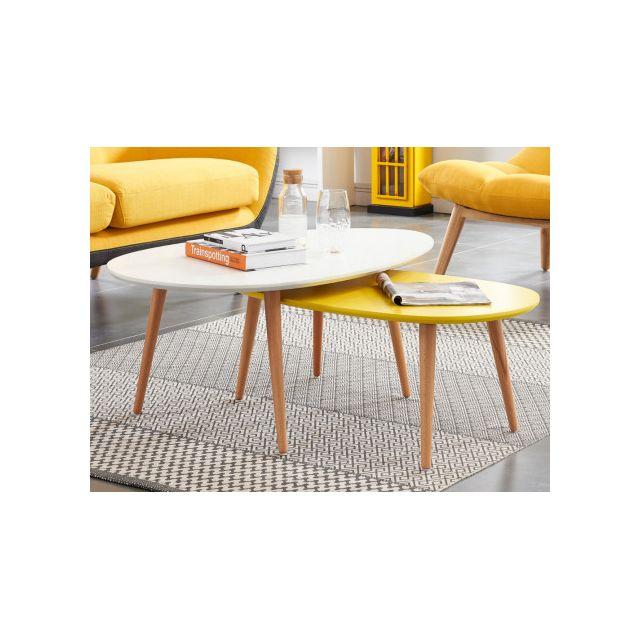 MARQUE GENERIQUE Tables basses gigognes PAMY - MDF laqué & hêtre massif - Blanc & jaune