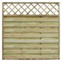 Rocambolesk - Superbe Panneau de clôture carré en bois avec treillis 180 x 180 cm neuf
