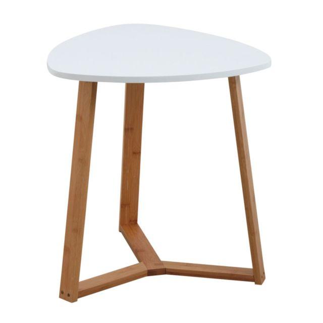 AUBRY GASPARD Table d'appoint en bois et MDF laqué blanc