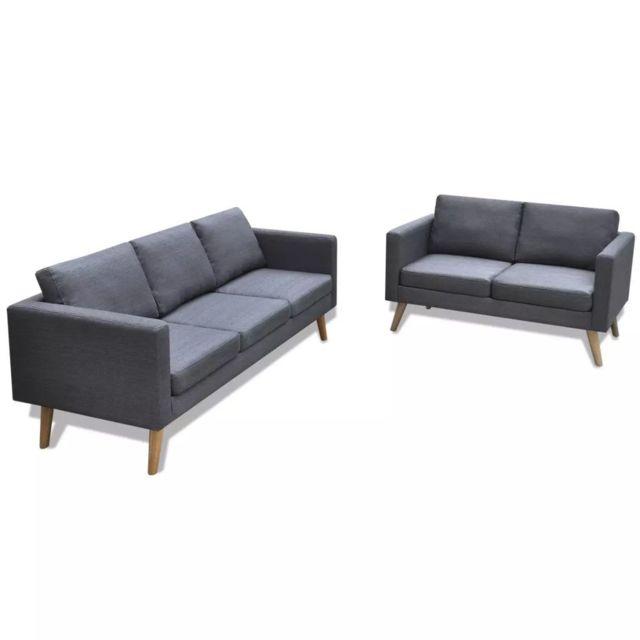 VIDAXL Jeu de canapé à 2 places et à 3 places Tissu Gris foncé - 272194 | Gris