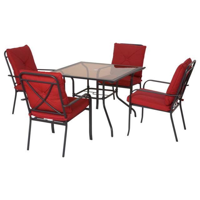 OUTSUNNY Ensemble de jardin 4 pers. coussins déhoussables fournis table plateau verre trempé 5 mm métal époxy noir polyester roug