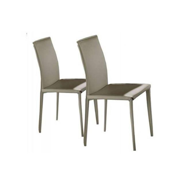 Inside 75 Lot de 2 chaises design Cathy en tissu enduit polyuréthane simili façon cuir gris clair