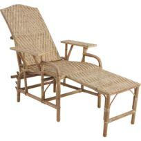 AUBRY GASPARD - Chaise longue en Manau et Lame de rotin réglable en 4 positions 76x175x60cm